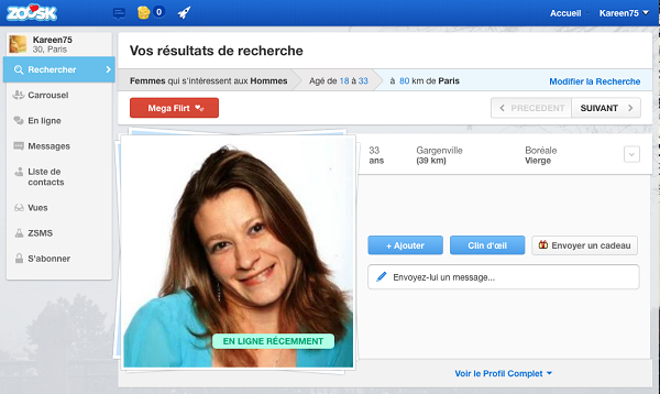 zoosk profil et inscription